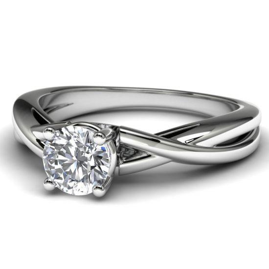 Кольцо с перекрещенное солитер с бриллиантом,  Больше Изображение 2