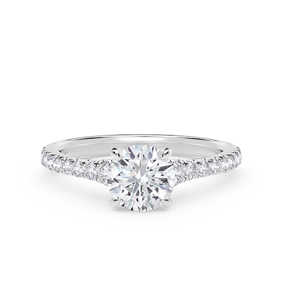 Кольцо с круглым бриллиантом и дорожкой по бокам, Больше Изображение 1