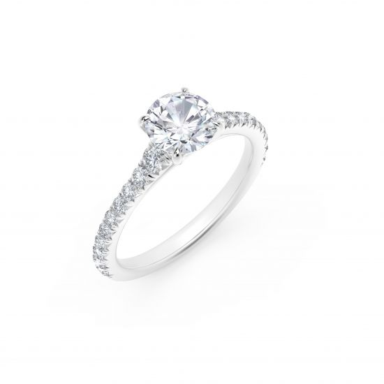 Кольцо с круглым бриллиантом и дорожкой по бокам,  Больше Изображение 2