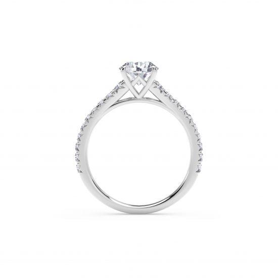 Кольцо с круглым бриллиантом и дорожкой по бокам,  Больше Изображение 3