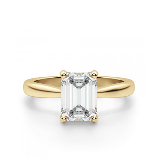 Кольцо из золота с бриллиантом огранки Эмеральд, Больше Изображение 1
