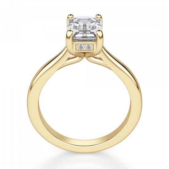 Кольцо из золота с бриллиантом огранки Эмеральд,  Больше Изображение 2