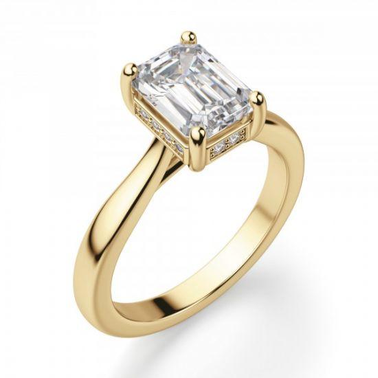 Кольцо из золота с бриллиантом огранки Эмеральд,  Больше Изображение 3