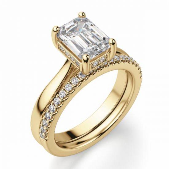 Кольцо из золота с бриллиантом огранки Эмеральд,  Больше Изображение 4