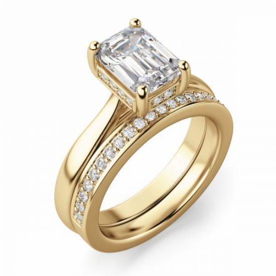 Кольцо из золота с бриллиантом огранки Эмеральд,  Больше Изображение 5