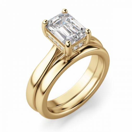 Кольцо из золота с бриллиантом огранки Эмеральд,  Больше Изображение 6