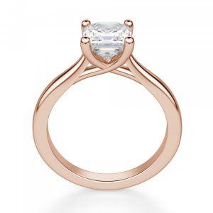 Кольцо с бриллиантом Ашер в розовом золоте