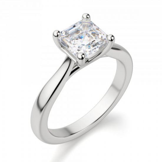 Кольцо помолвочное с бриллиантом Ашер,  Больше Изображение 3
