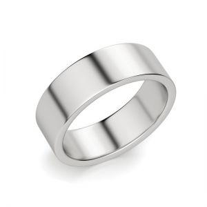 Кольцо плоское 6 мм из белого золота