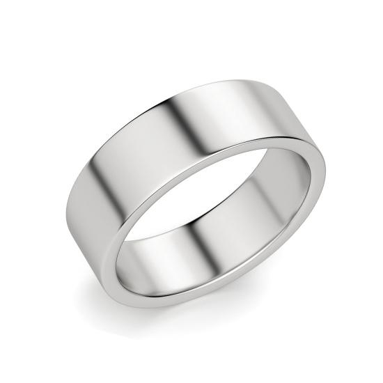 Кольцо плоское 6 мм из белого золота, Больше Изображение 1