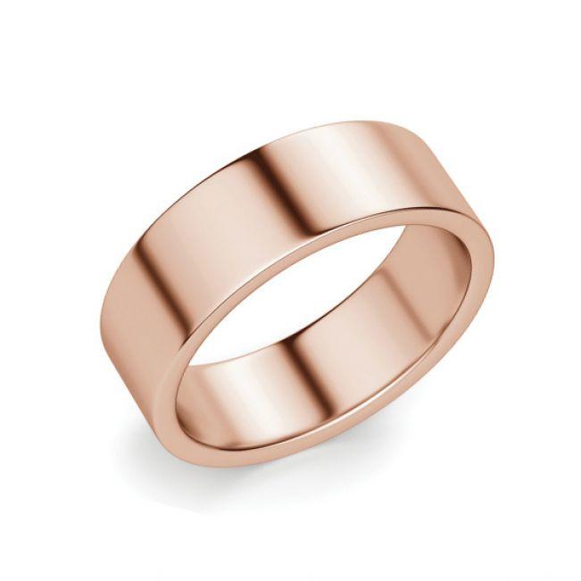 Кольцо плоское 6 мм из розового золота
