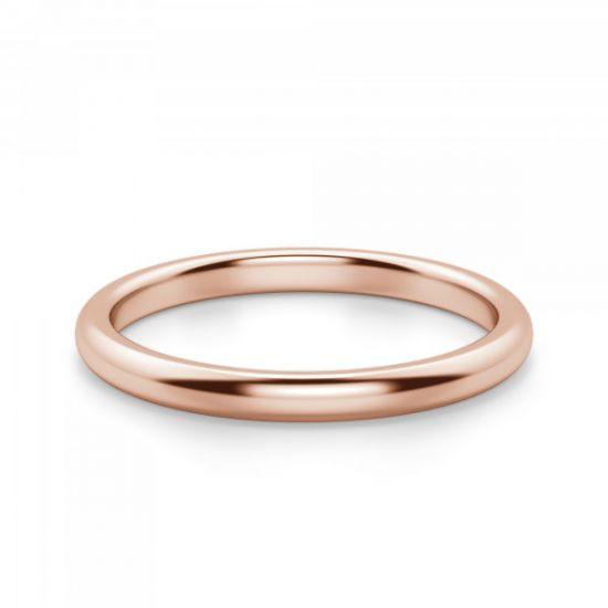 Тонкое кольцо без камней из розового золота,  Больше Изображение 2