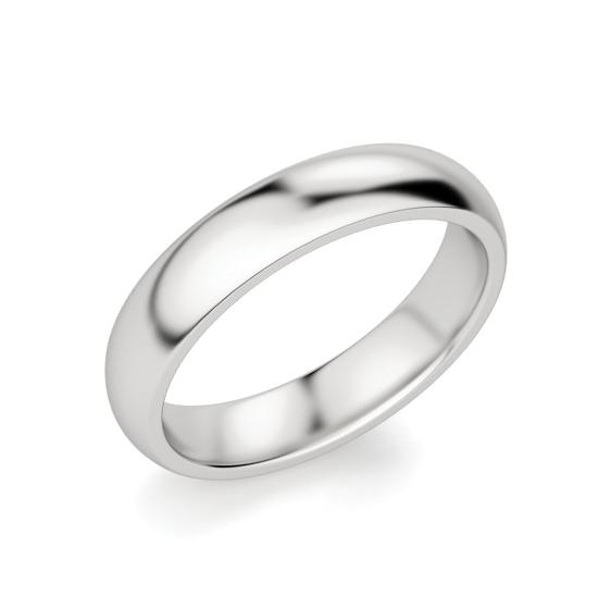 Кольцо 4 мм выпуклое из белого золота, Больше Изображение 1