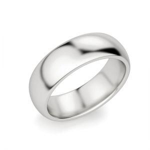 Кольцо мужское 6 мм из белого золота