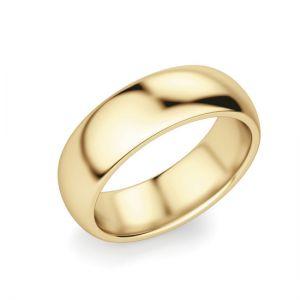Кольцо выпуклое 6 мм из желтого золота