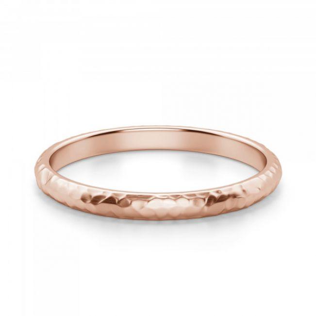 Кольцо 3 мм из розового золота с фактурой