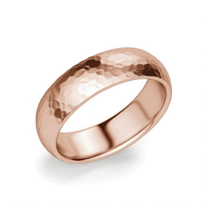 Кольцо мужское фактурное из розового золота