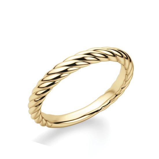 Кольцо из желтого золота 750 пробы в стиле каната, Больше Изображение 1
