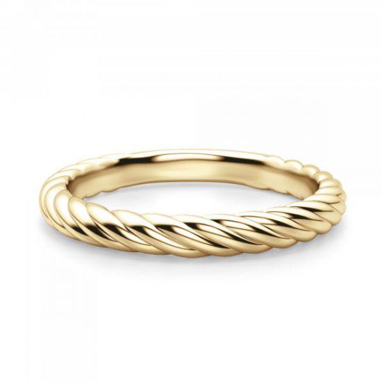 Кольцо из желтого золота 750 пробы в стиле каната,  Больше Изображение 2