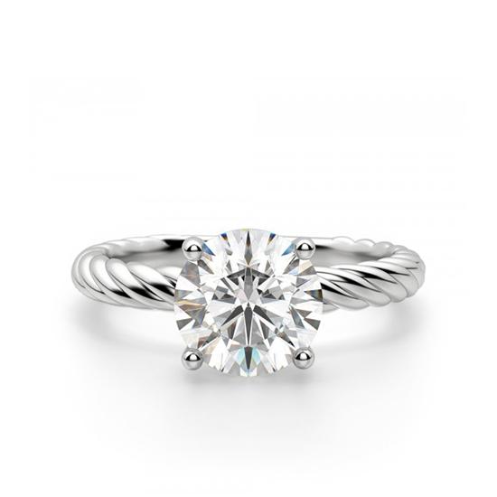 Кольцо солитер с бриллиантом на шинке канате, Больше Изображение 1