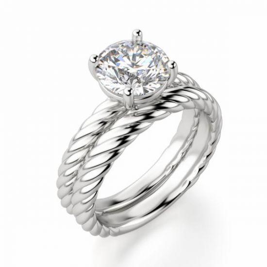 Кольцо солитер с бриллиантом на шинке канате,  Больше Изображение 2