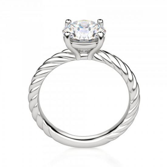 Кольцо солитер с бриллиантом на шинке канате,  Больше Изображение 3
