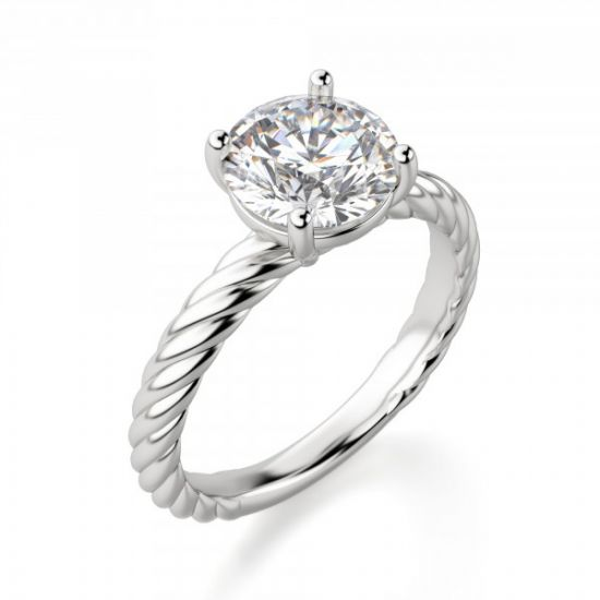 Кольцо солитер с бриллиантом на шинке канате,  Больше Изображение 4