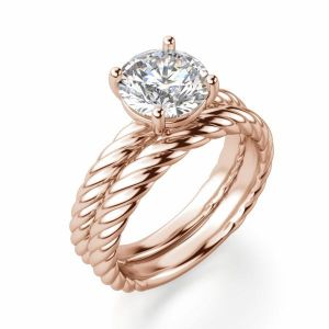 Кольцо солитер плетеный канат с бриллиантом