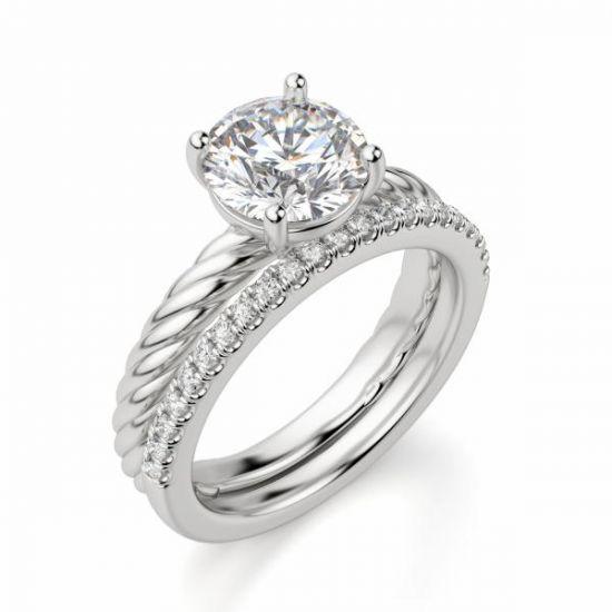 Кольцо солитер с бриллиантом на шинке канате,  Больше Изображение 5