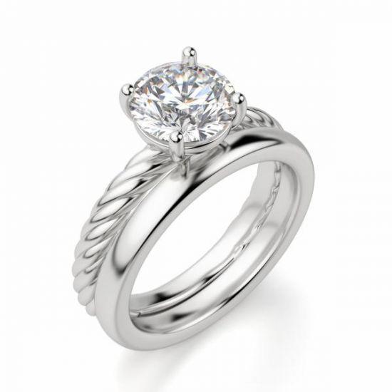 Кольцо солитер с бриллиантом на шинке канате,  Больше Изображение 6