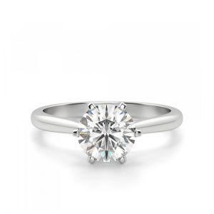 Кольцо солитер с бриллиантом в короне из 6 лапок