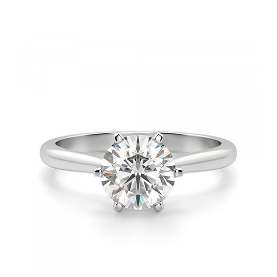 Кольцо солитер с бриллиантом в короне из 6 лапок, Больше Изображение 1