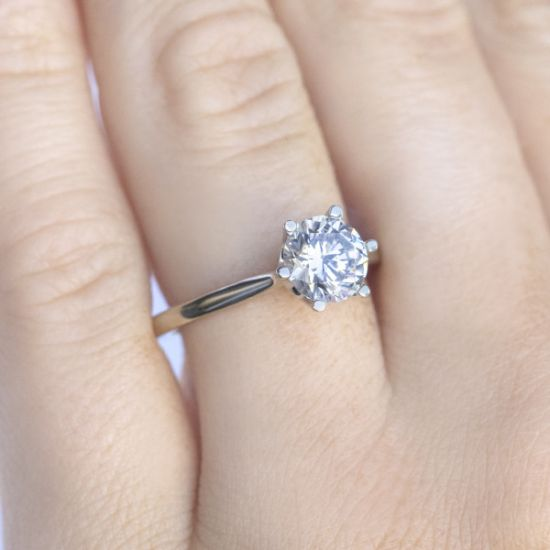 Кольцо солитер с бриллиантом в короне из 6 лапок,  Больше Изображение 4