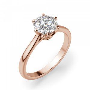Кольцо солитер с бриллиантом из розового золота