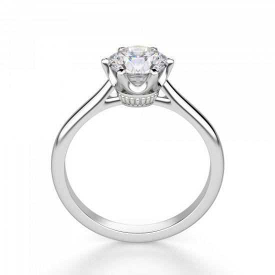 Кольцо солитер с бриллиантом в короне из 6 лапок,  Больше Изображение 2