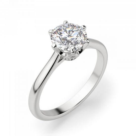 Кольцо солитер с бриллиантом в короне из 6 лапок,  Больше Изображение 3