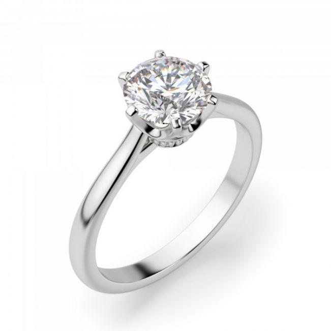 Кольцо солитер с бриллиантом 1 карат в короне 6 лапок