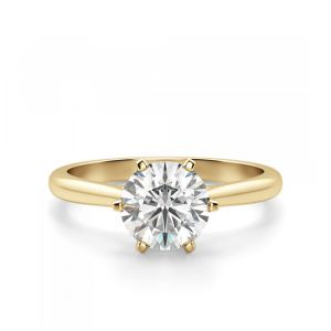 Кольцо солитер с бриллиантом в короне из 6 крапанов