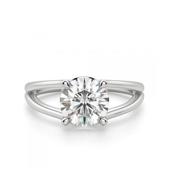 Кольцо с раздвоение с белым бриллиантом, Больше Изображение 1