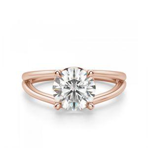 Кольцо двойное в розовом золоте с 1 бриллиантом
