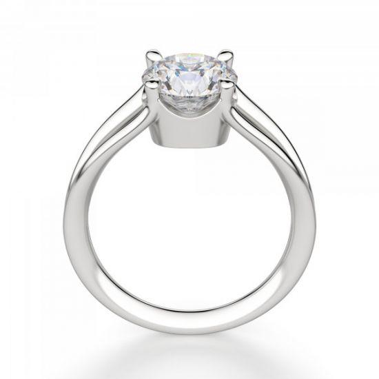 Кольцо с раздвоение с белым бриллиантом,  Больше Изображение 2