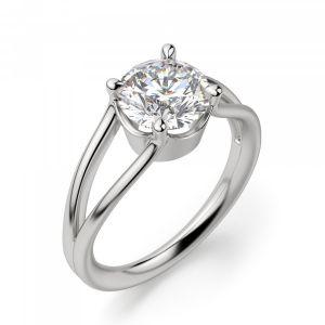 Кольцо с раздвоение с белым бриллиантом