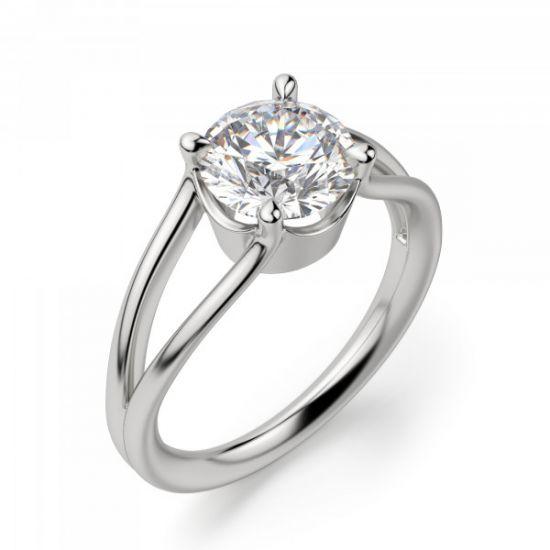 Кольцо с раздвоение с белым бриллиантом,  Больше Изображение 3