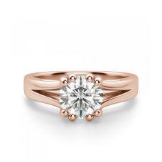 Кольцо двойное из розового золота с бриллиантом