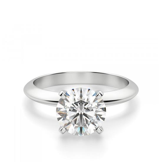 Классическое кольцо с круглым бриллиантом, Больше Изображение 1