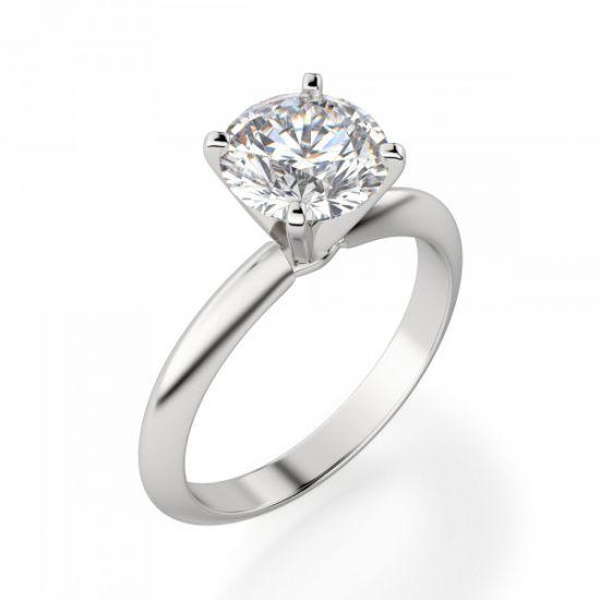 Классическое кольцо с круглым бриллиантом,  Больше Изображение 3