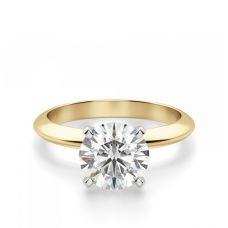 Классическое кольцо с бриллиантом из жёлтого золота
