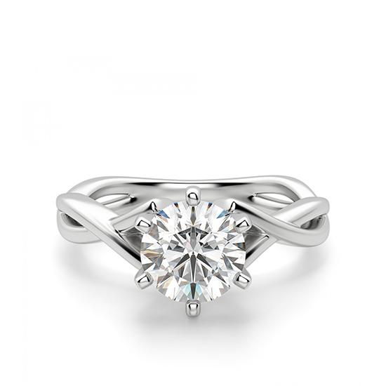 Кольцо перекрученное из белого золота с бриллиантом, Больше Изображение 1