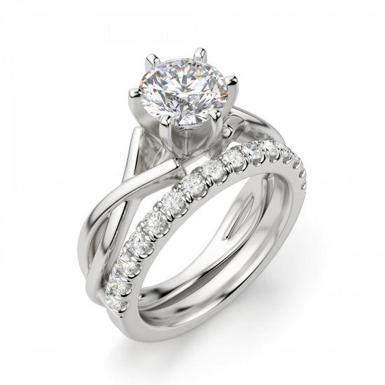 Кольцо перекрученное из белого золота с бриллиантом,  Больше Изображение 4
