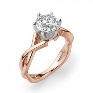 Кольцо перекрученное из розового золота с бриллиантом